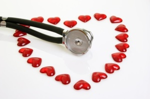 Stethoscope with red plastic hearts