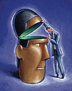 Man Looking Inside Head