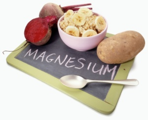 Foods containing Magnesium mineral and chalk board